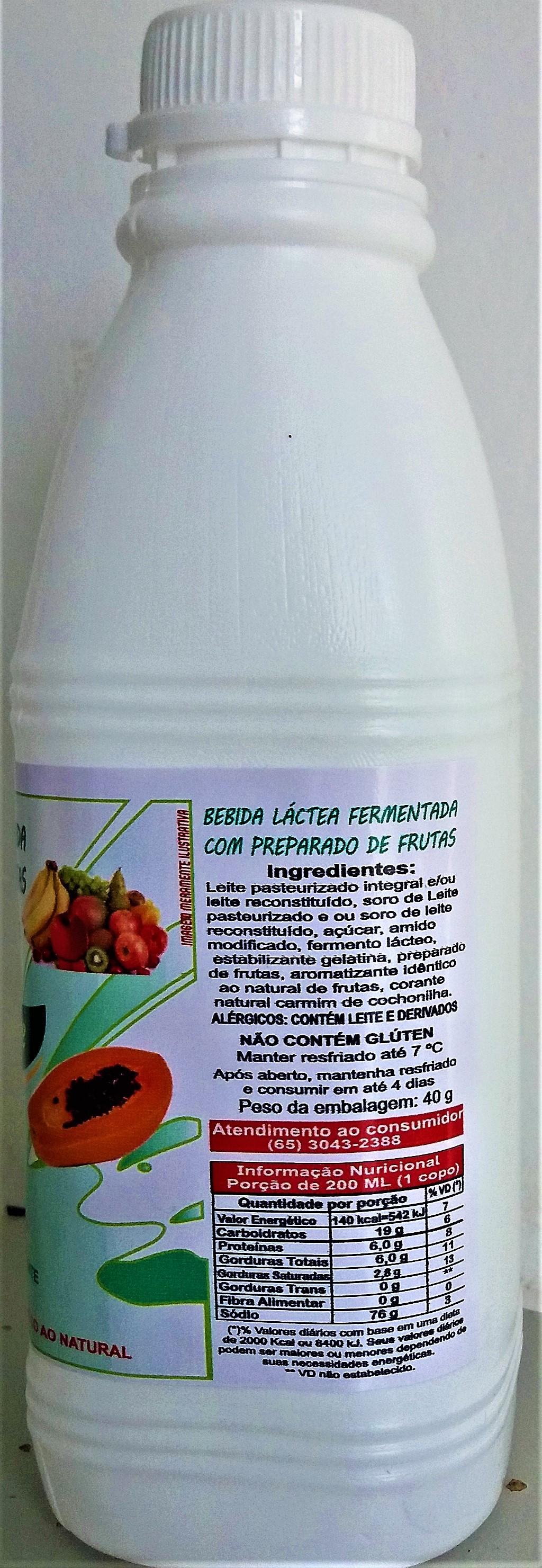 Bebida Láctea Sabor  Frutas - Garrafa Plástica