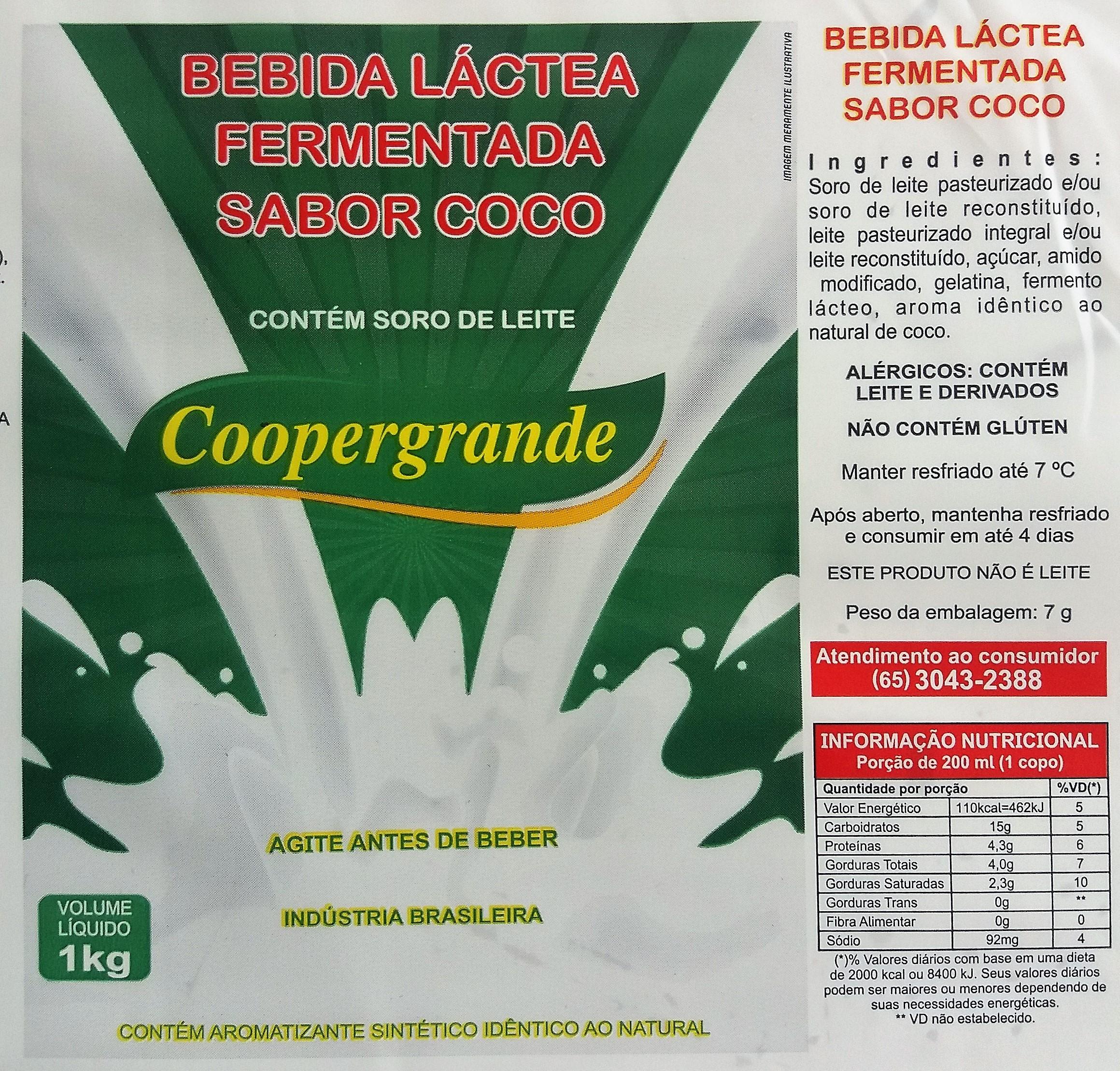 Bebida Láctea Sabor coco - saquinho tipo barriga mole