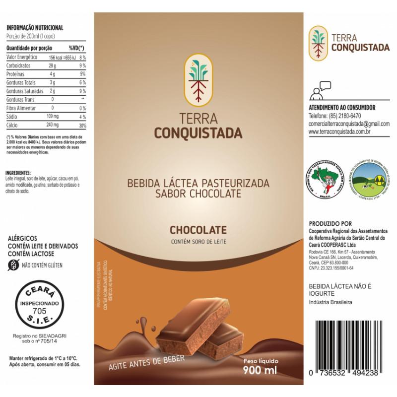 Bebida láctea pasteurizada TERRA Conquistada, sabor chocolate, saco 900 ml.