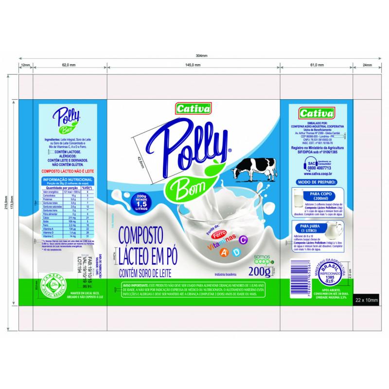 Composto Lácteo em Pó Vitaminado - Polly Bom 200g