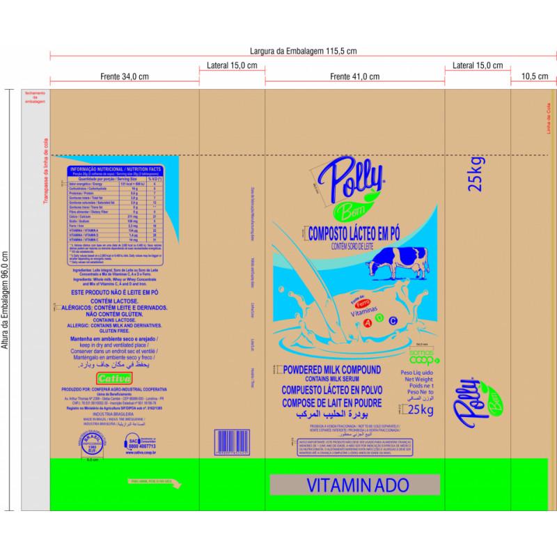 Composto Lácteo em Pó Vitaminado - Polly Bom 25kg